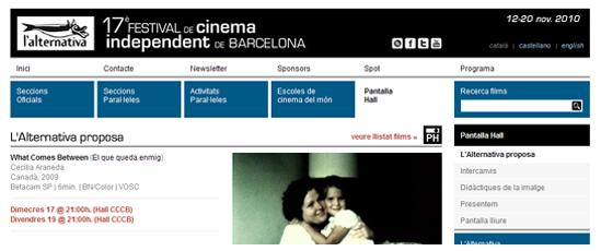 """What Comes Between"" to screen in Barcelona"
