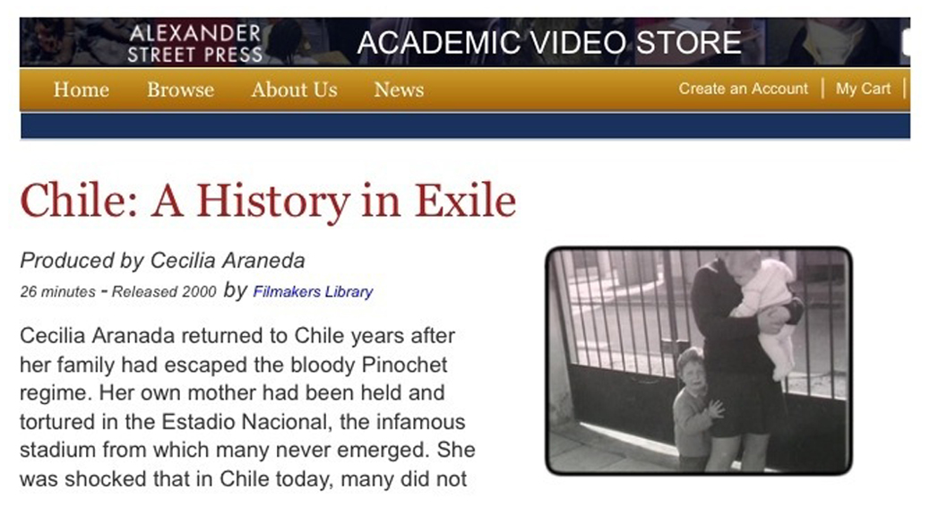 Chile: A History in Exile Available for Streaming Subscription