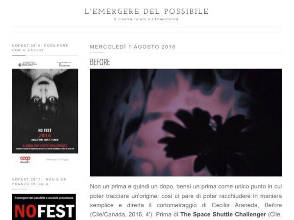 Analysis of Before in Italian film blog