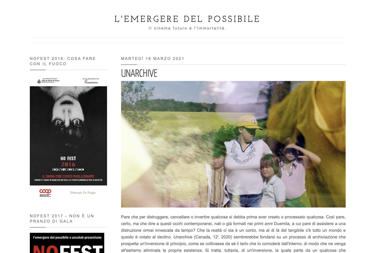 Analysis of Unarchive in Italy's L'emergere del possibile